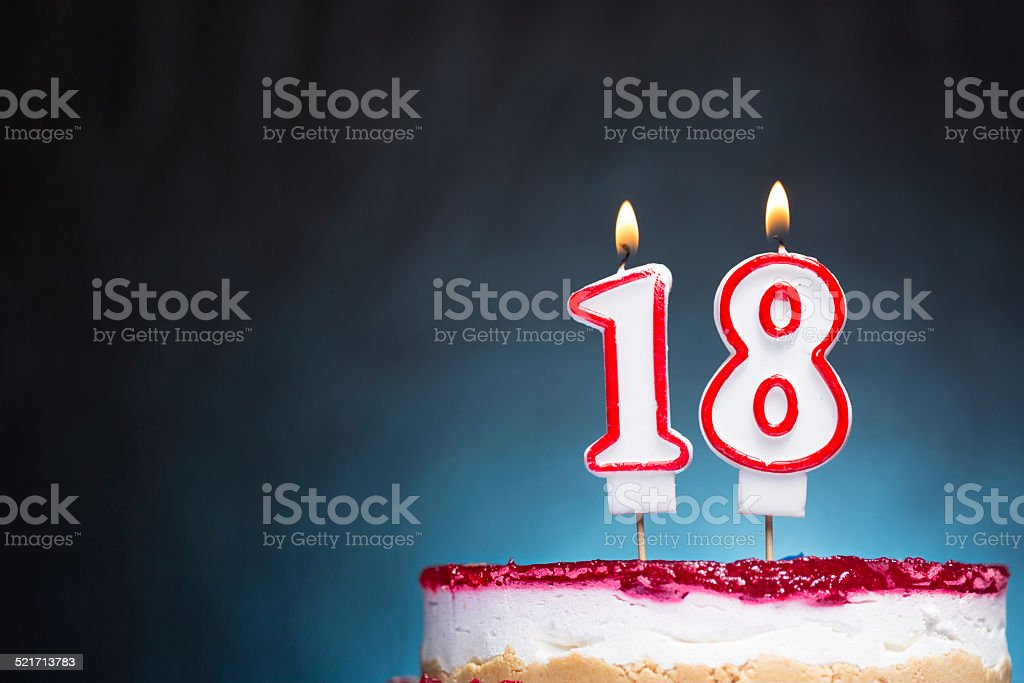 18th Birthday candles stock photo