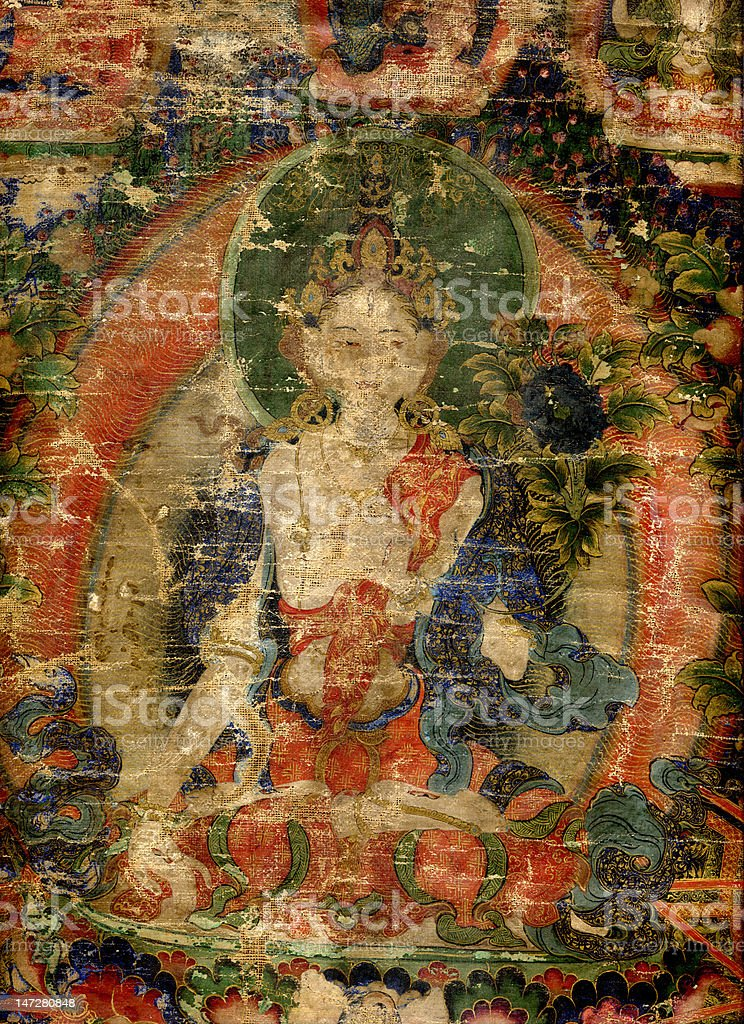 18th century antique Tibetan Buddhist Thangka stock photo
