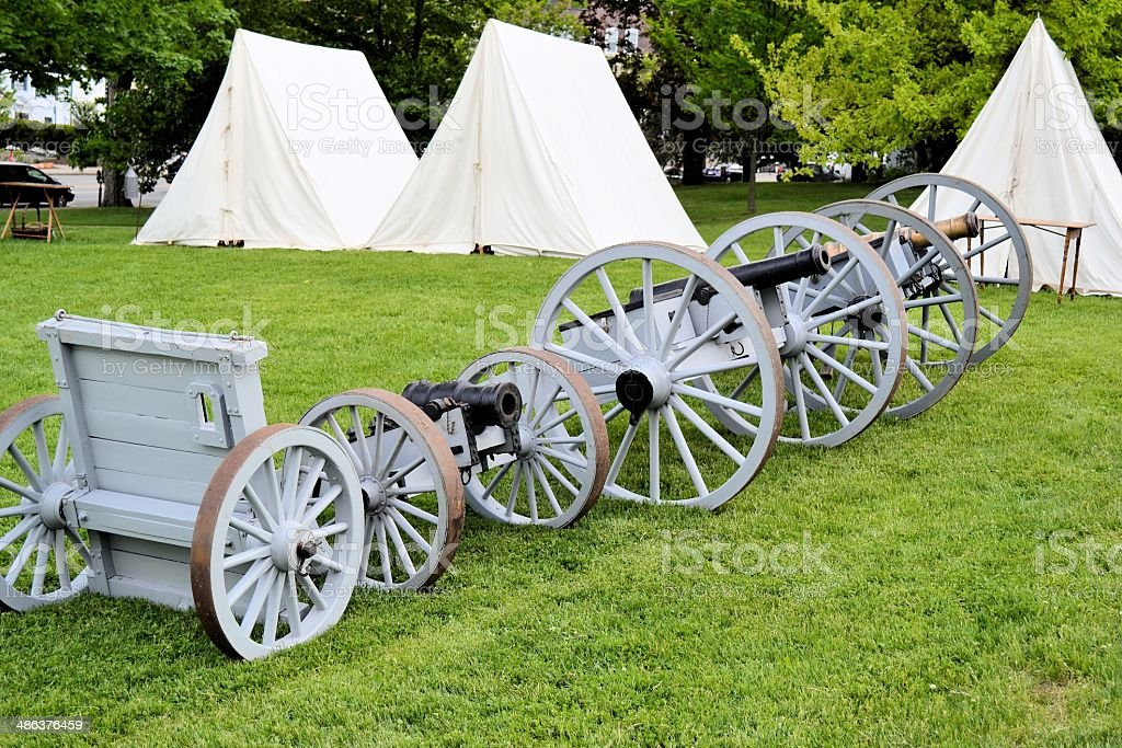 18th Century Artillery and Tents, Wellesley, Massachusetts stock photo
