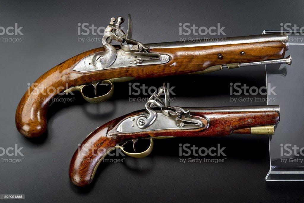 18th Century British Flintlock Pistols. stock photo