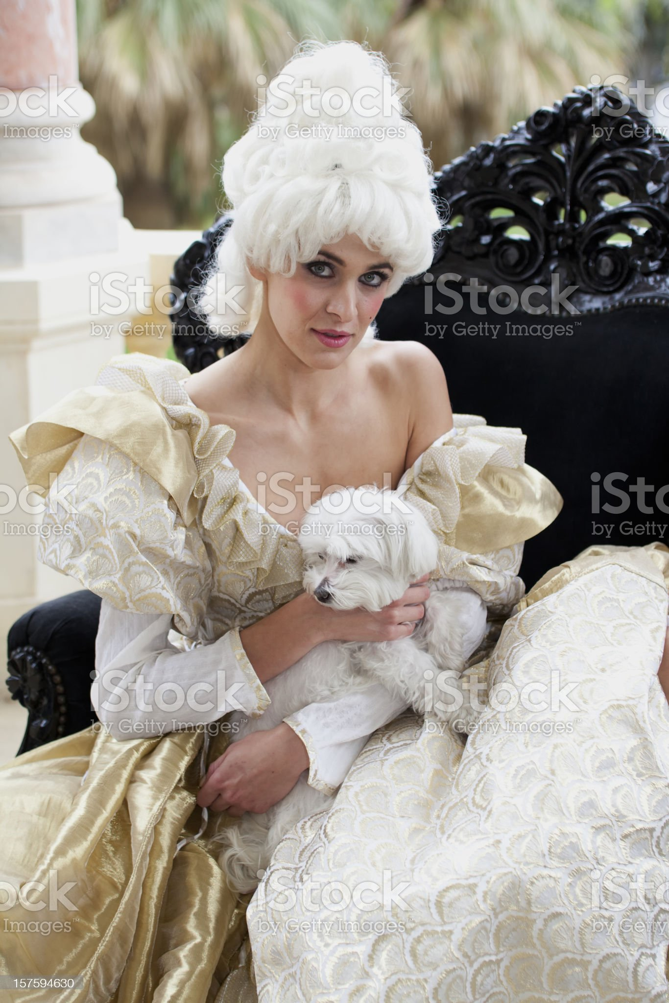 18th Century French Courtesan with small dog royalty-free stock photo