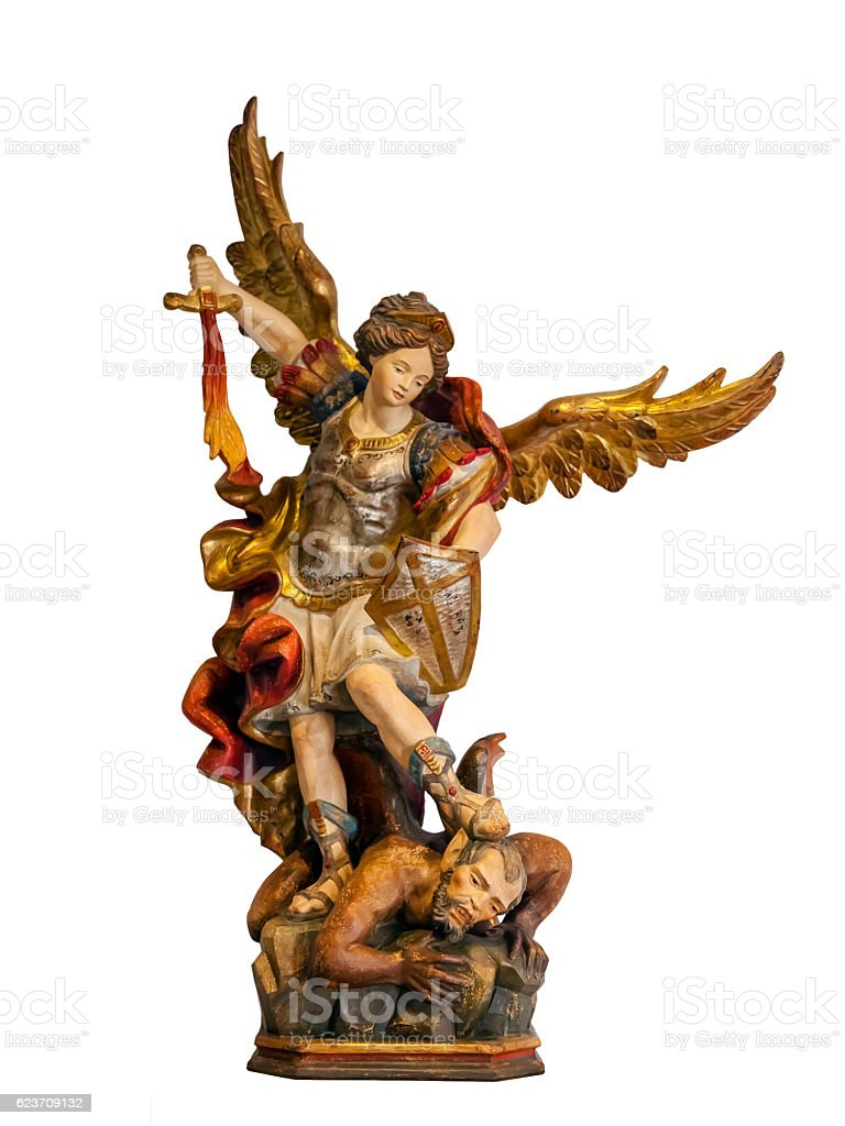 18th century Saint Michael Archangel statue stock photo