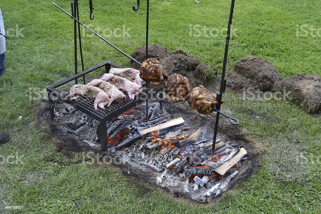 18th Century Style Army Cooking, Wellesley, Massachusetts stock photo