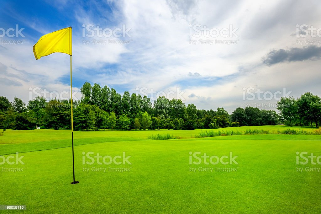 18th hole on golf course stock photo