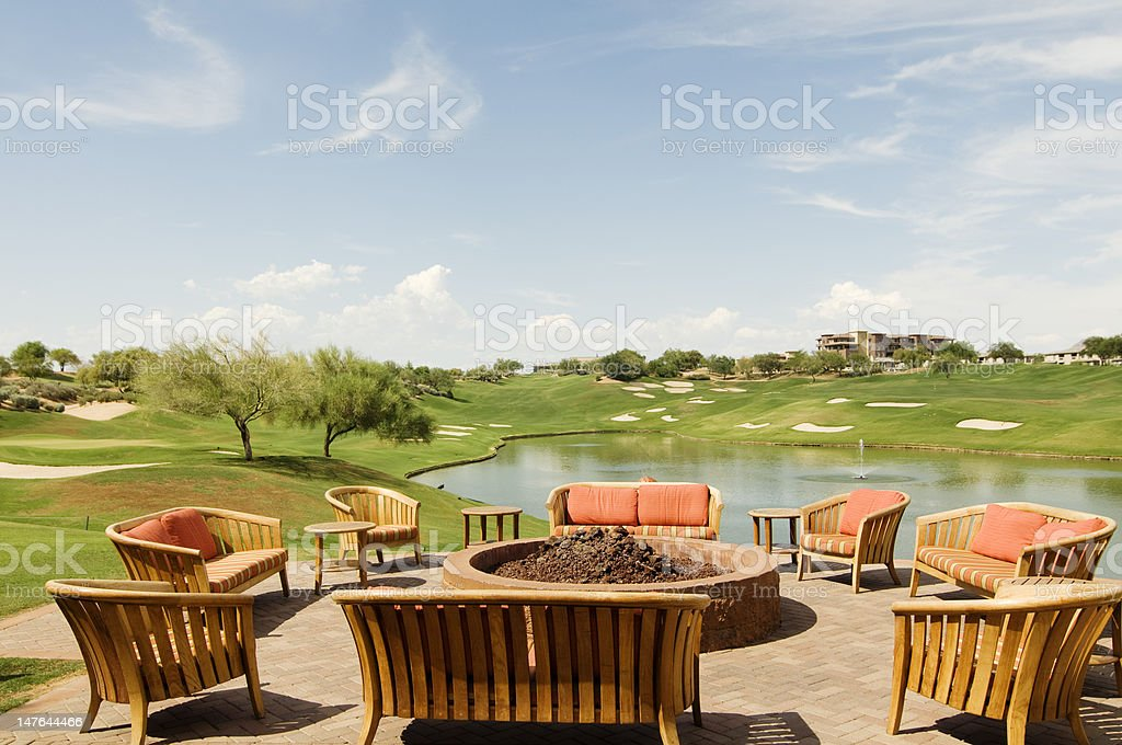18th hole view from golf course club house stock photo