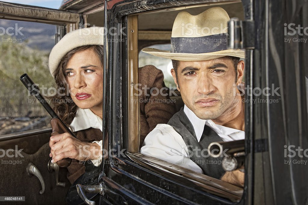 1920s Lookout Gangsters stock photo
