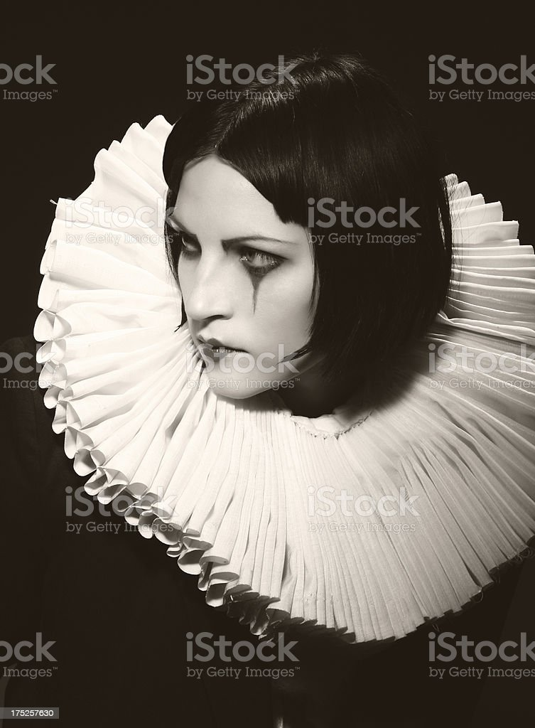 1920s style. Lone Pierrot royalty-free stock photo