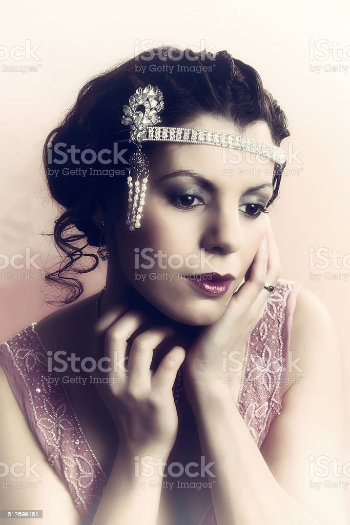 1920s woman closeup stock photo