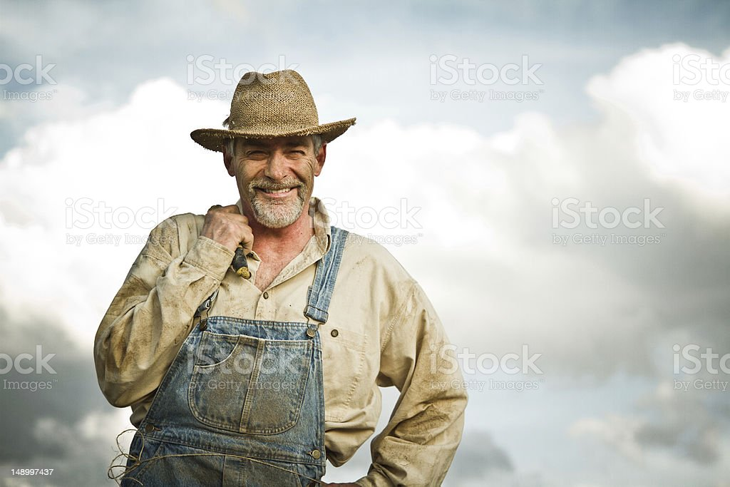 1930s farmer smiling at the camera stock photo