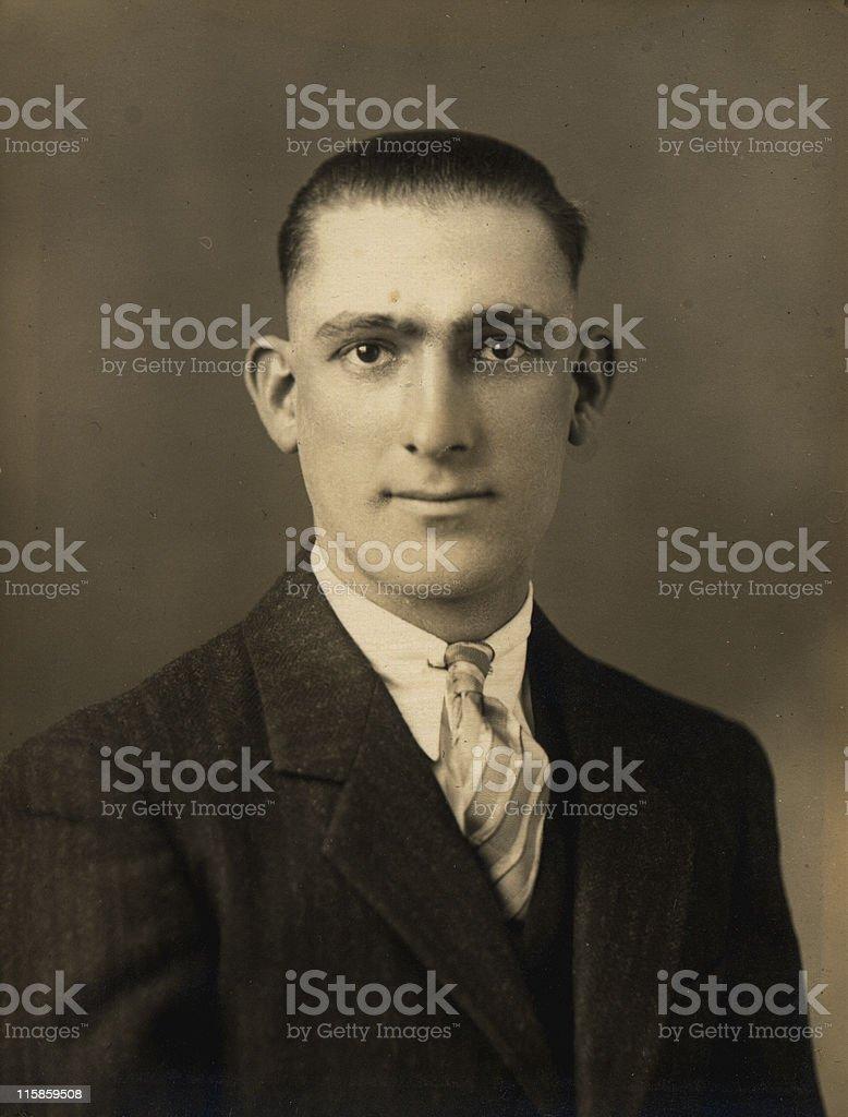1930s portrait of man, retro stock photo