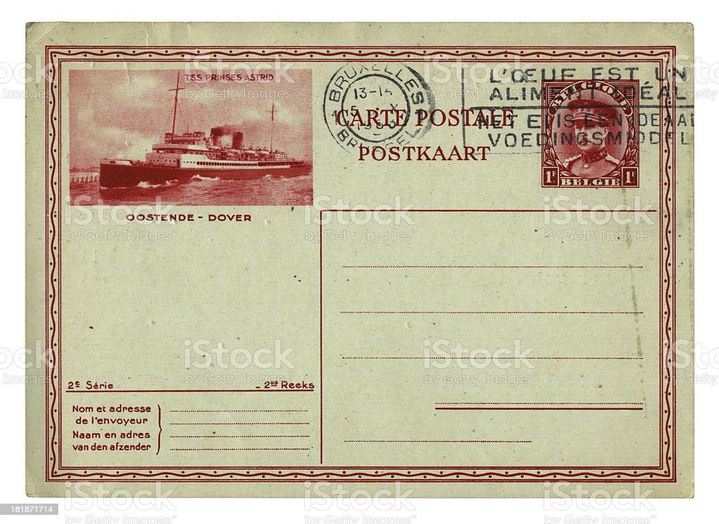 1930s postcard from Belgium royalty-free stock photo