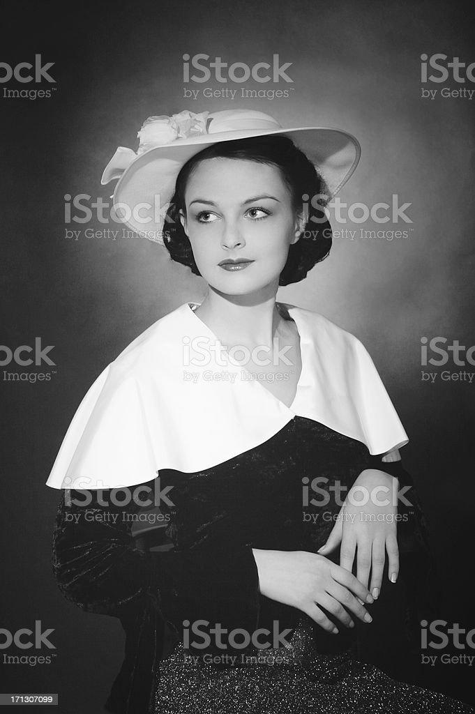 1930s style. Female portrait. royalty-free stock photo