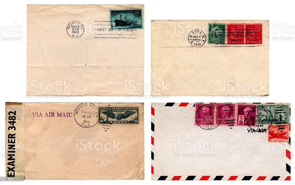 USA 1940s envelopes royalty-free stock photo