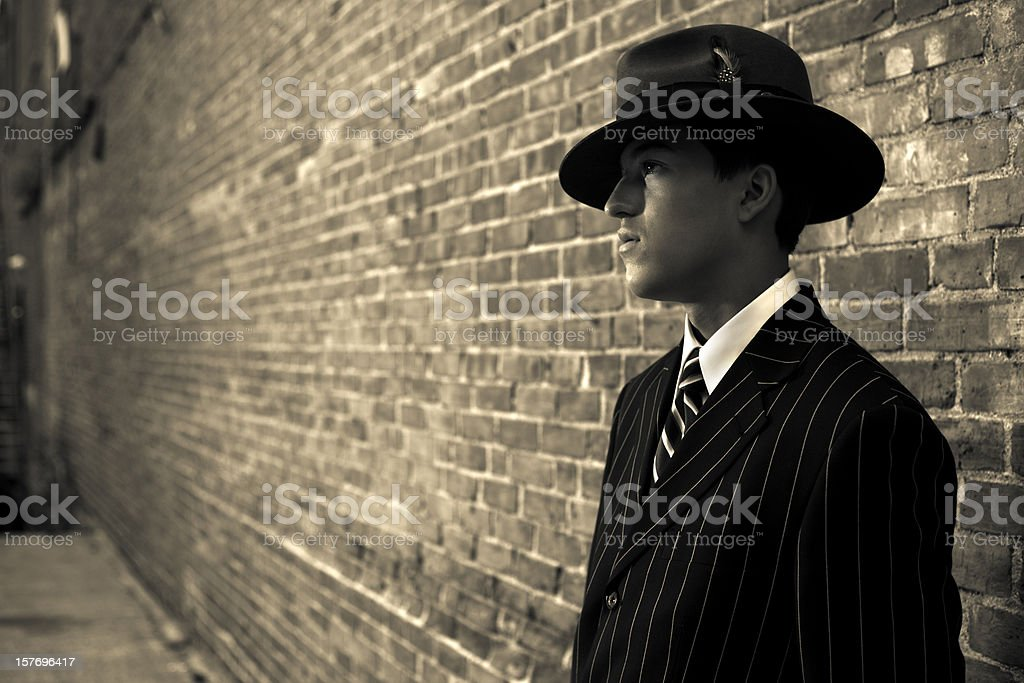 1940s film noir gangster or detective stock photo