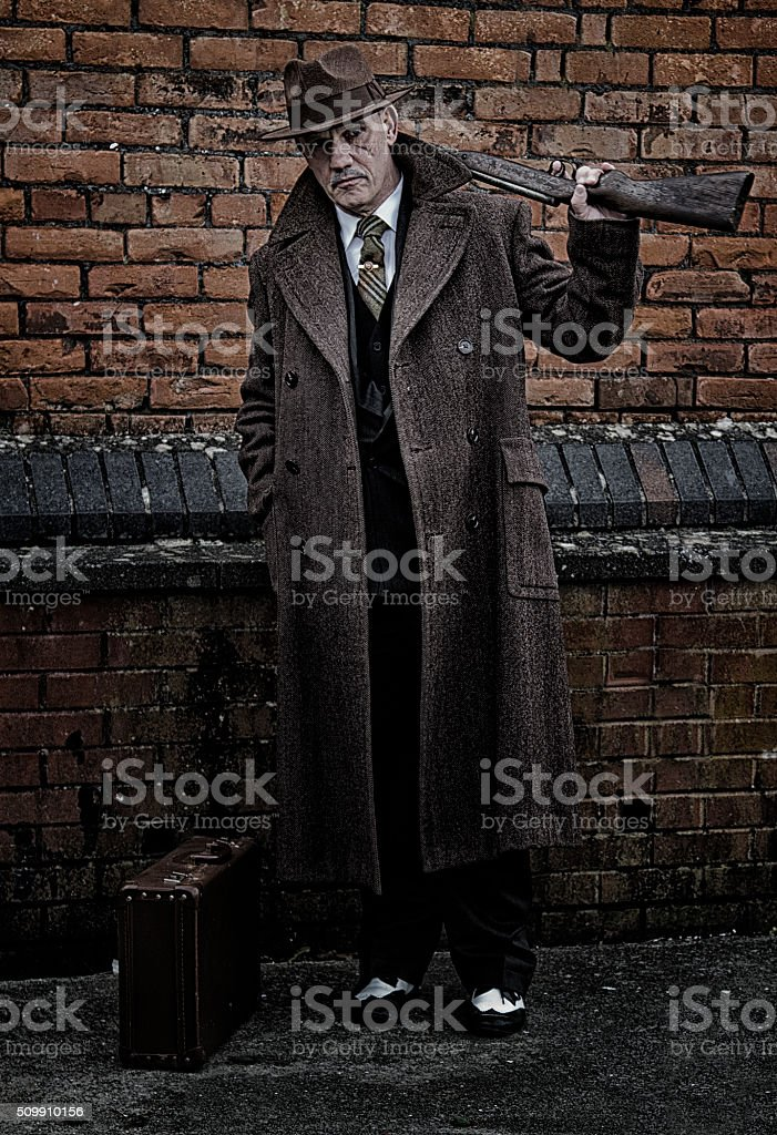 1940s Male holding a rifle stock photo