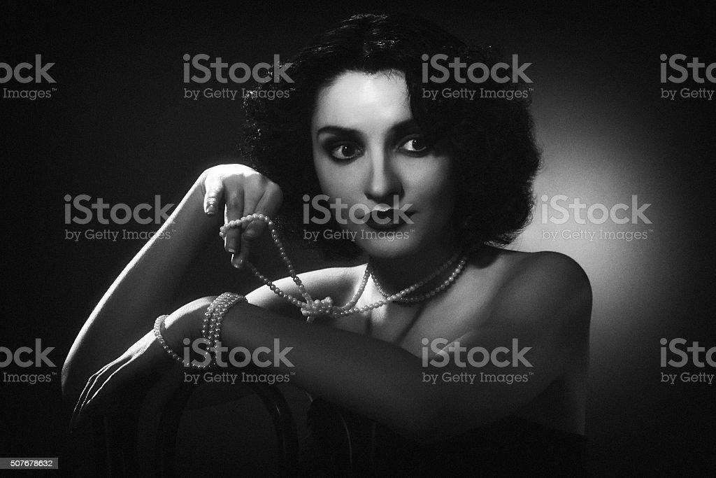 1940s style photo. Female portrait stock photo