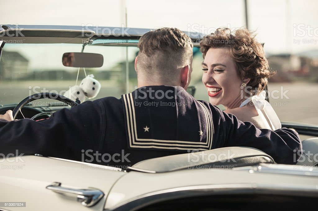 1950s Drive In Movie Theater Date stock photo