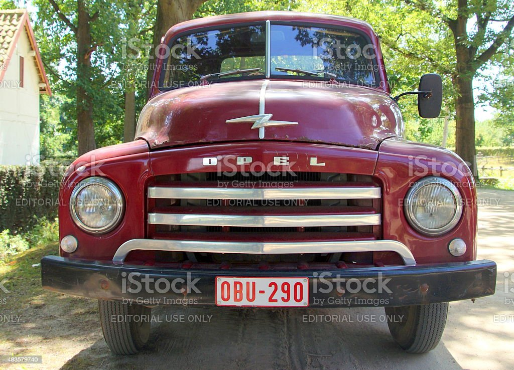 1950s pickup truck - Opel Blitz 1.75T - front view stock photo