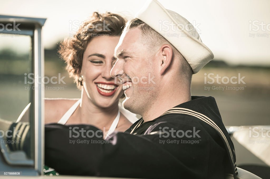 1950s Soldier Dating Girl in Car stock photo