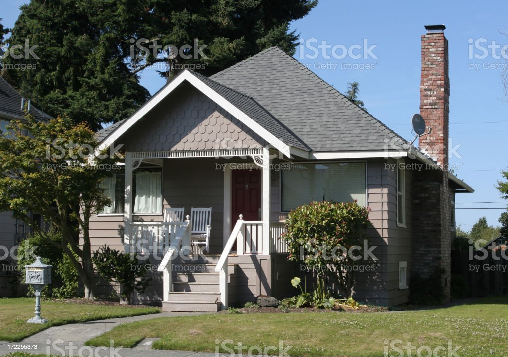 1950s style detached wooden house stock photo