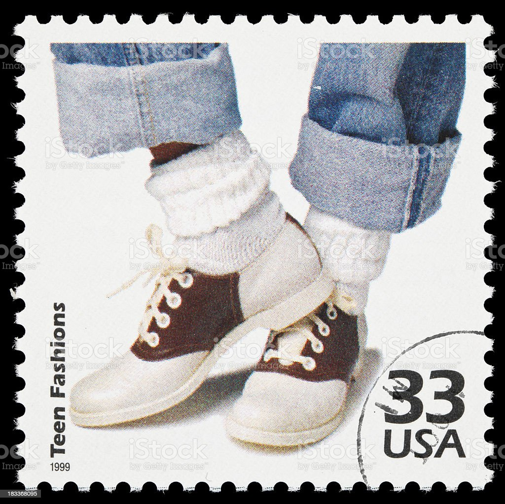1950s teen fashions postage stamp stock photo