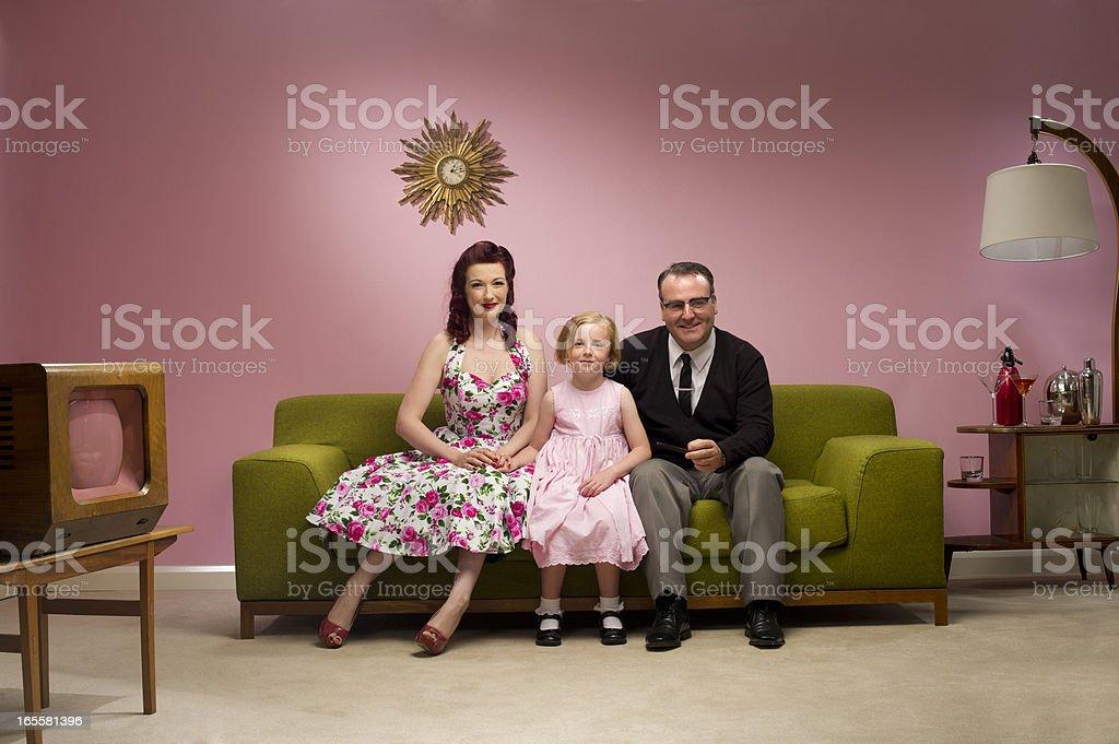 1950s tv family stock photo