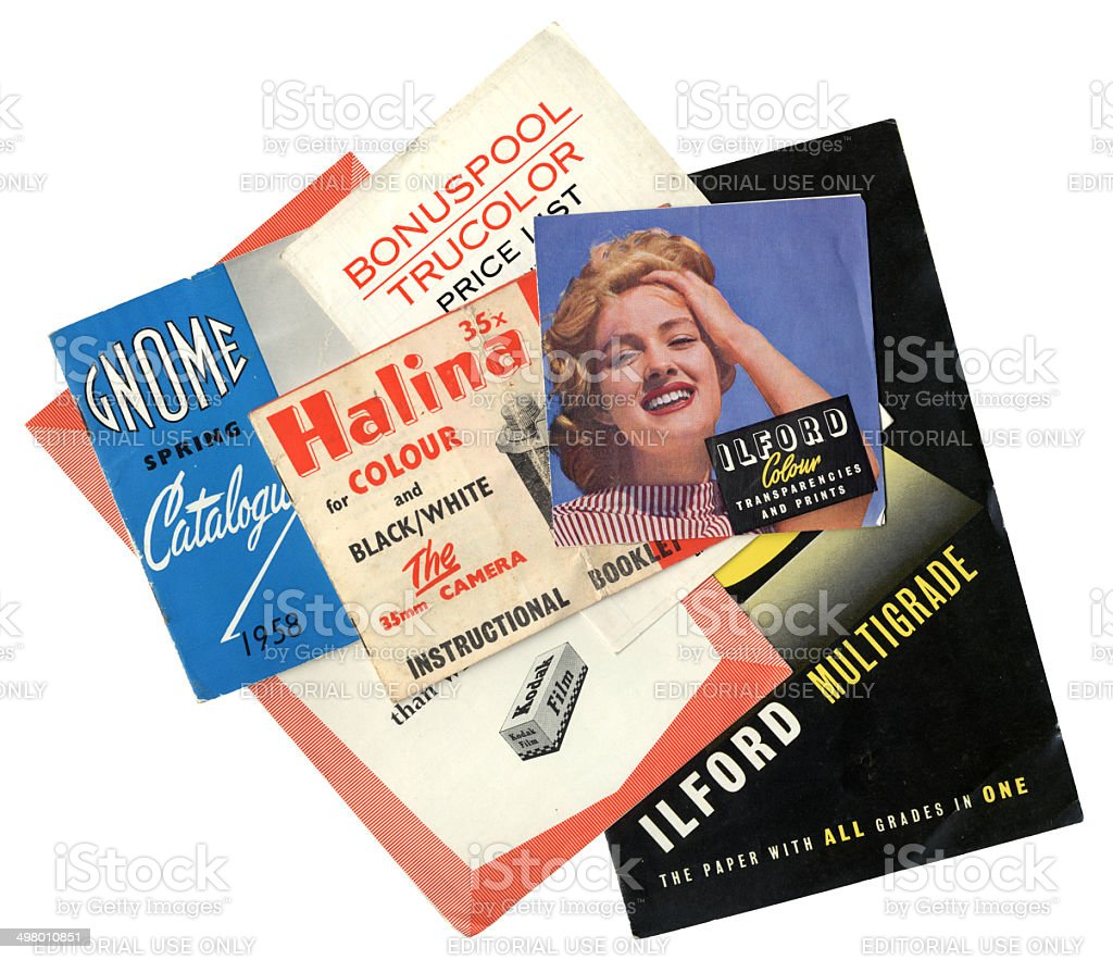 1950s-60s photographic equipment leaflets stock photo