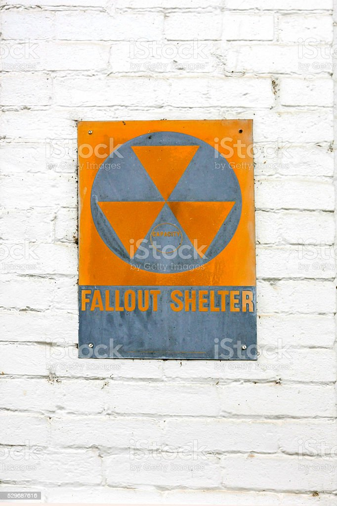 1960s Nuclear war Fallout Shelter wall sign stock photo