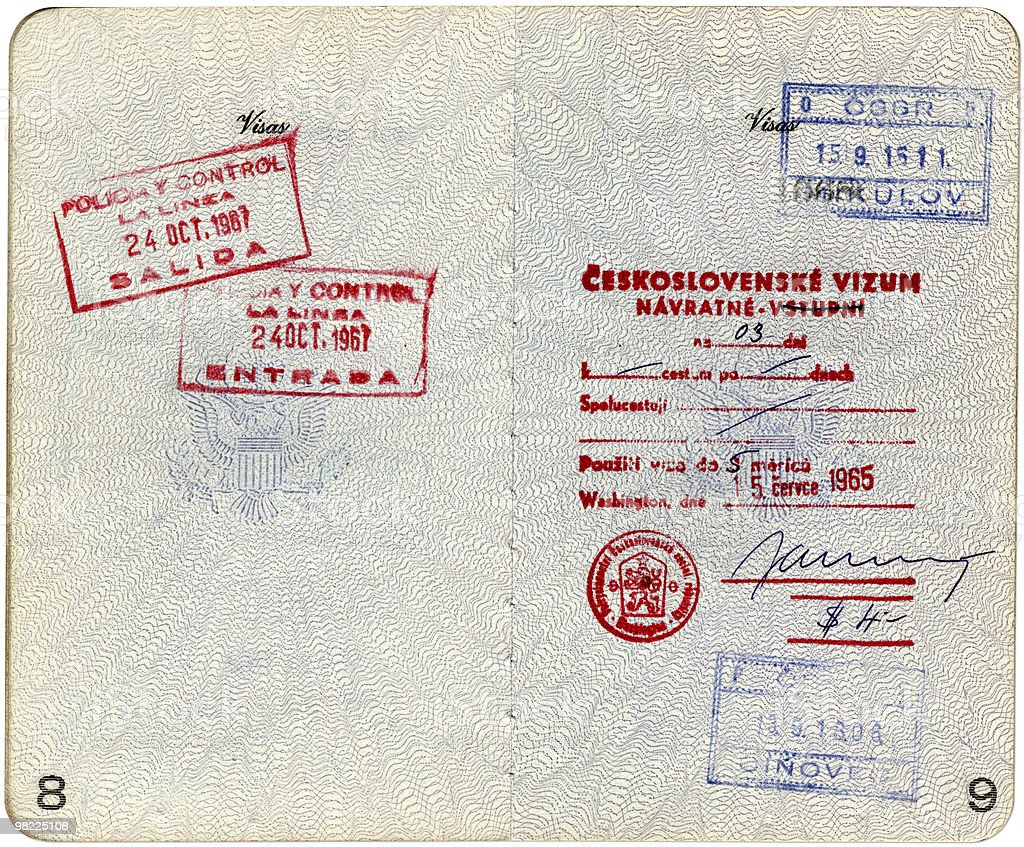 1960s United States Passport  XXL (w/Clipping Path) royalty-free stock photo