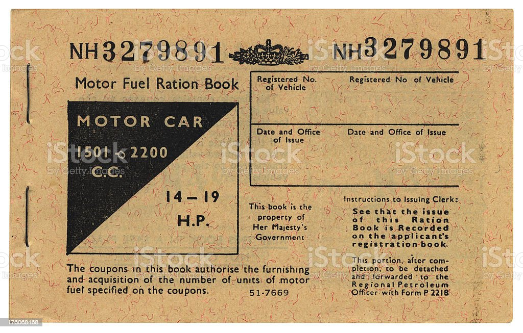 1970s British motor fuel ration book cover royalty-free stock photo