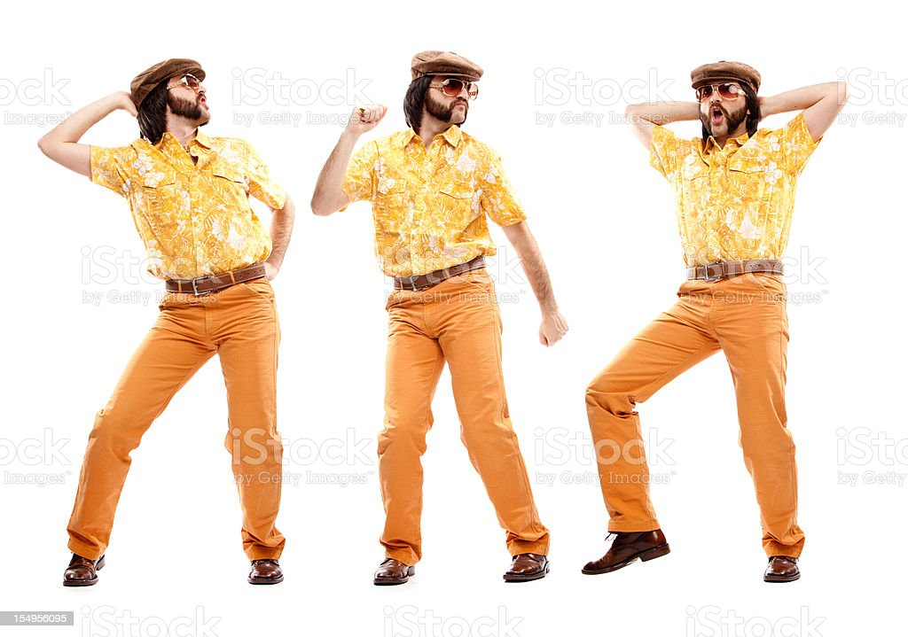 1970s vintage hawaiian shirt man  dance disco isolated on white royalty-free stock photo
