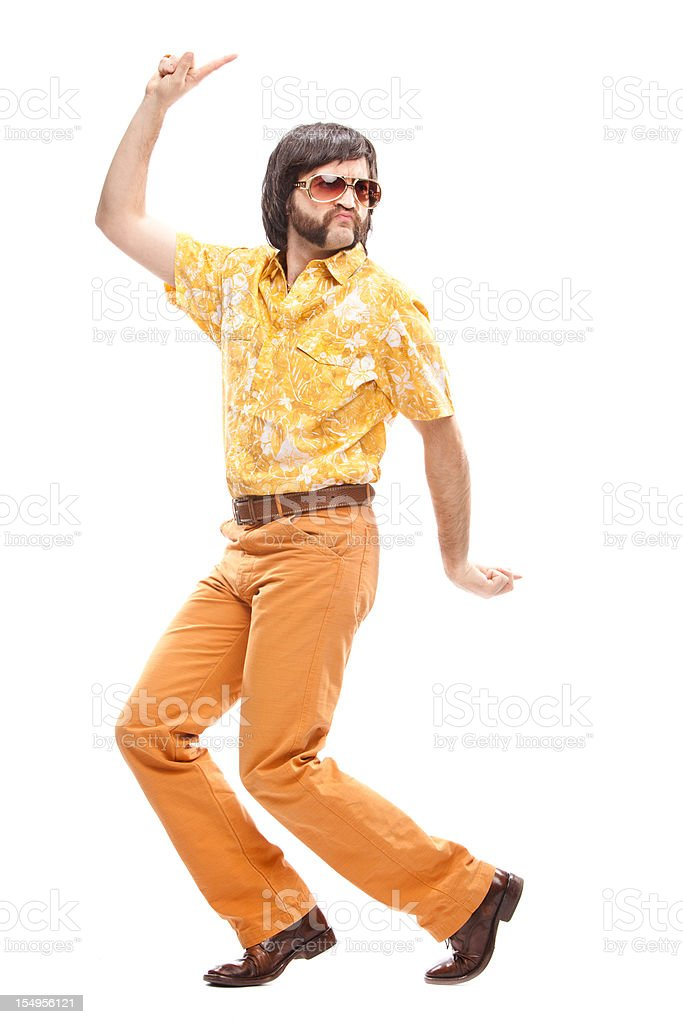 1970s vintage hawaiian shirt man  dance disco isolated on white stock photo