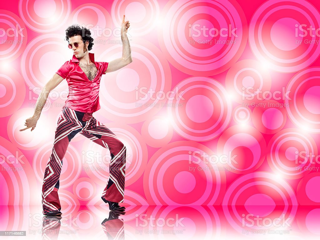1970s vintage pink man with sunglasses disco dance move stock photo