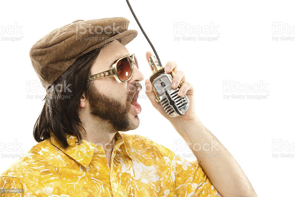 1970s vintage show man with hawaiian shirt and microphone isolat stock photo