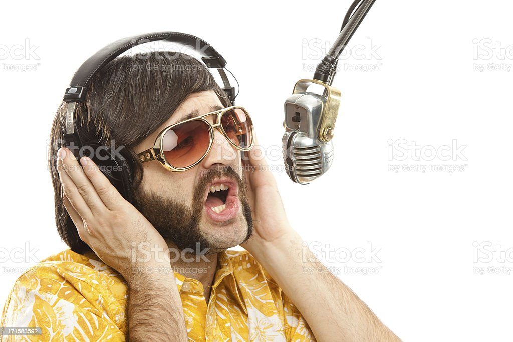 1970s vintage show man with hawaiian shirt and microphone isolat royalty-free stock photo