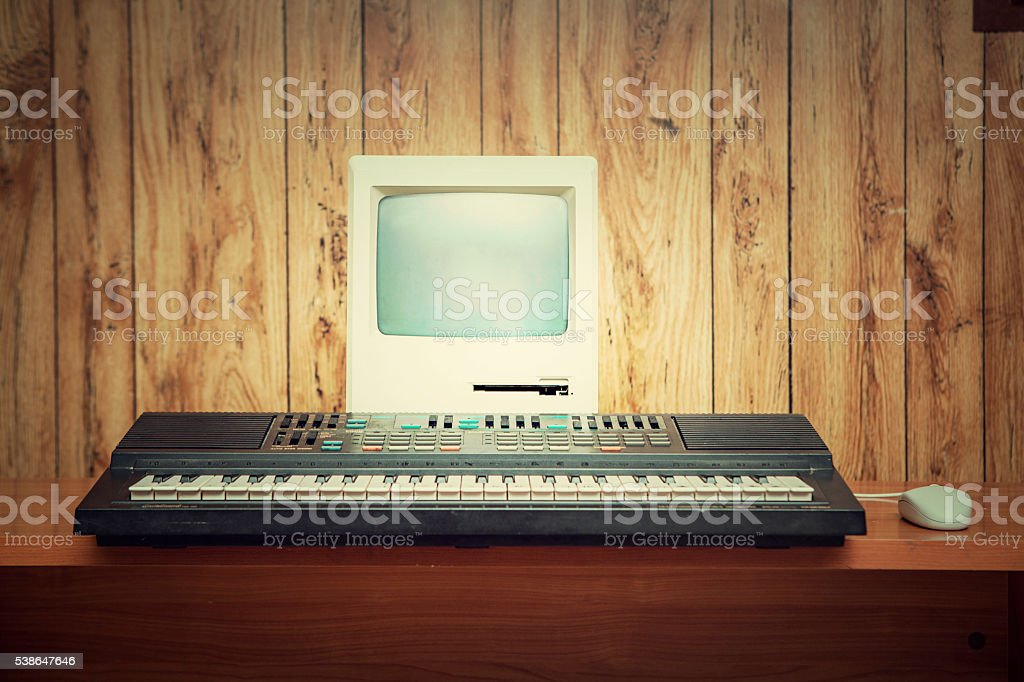 1980s computer and synthesizer stock photo