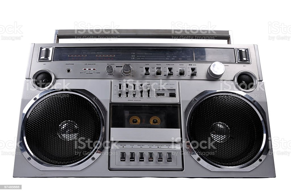 1980s Silver radio boom box isolated on white royalty-free stock photo