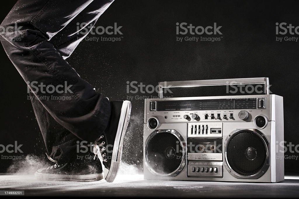 1980s Silver radio boom box stock photo