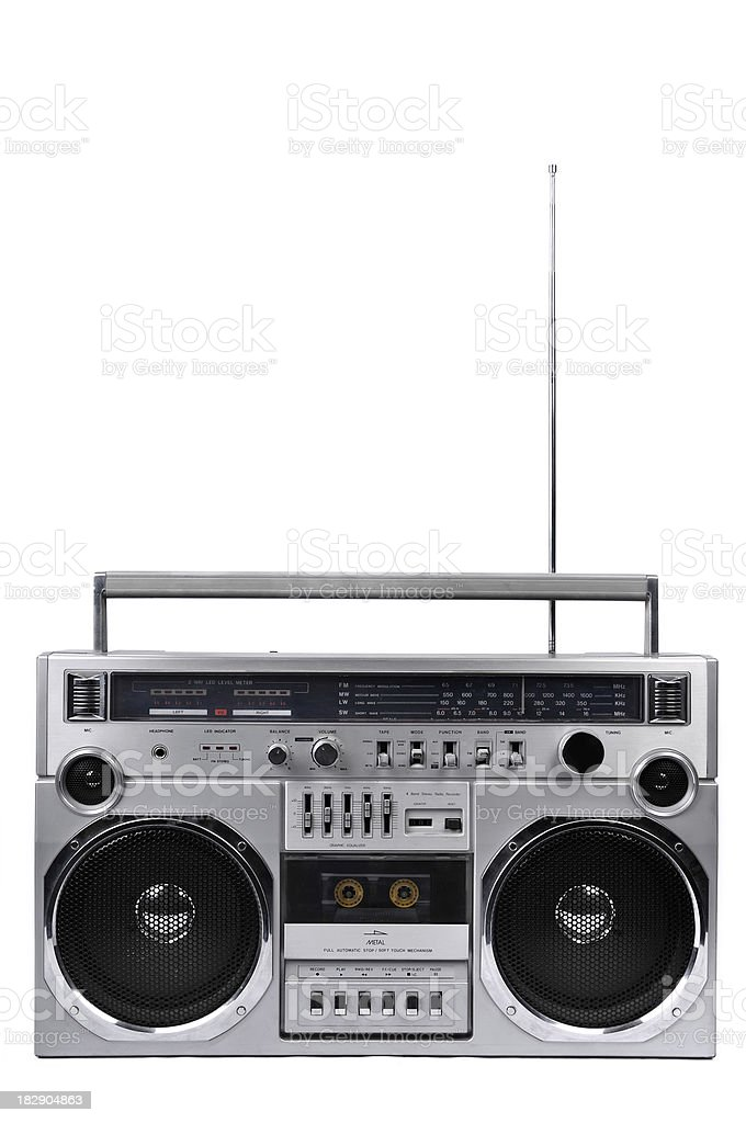1980s Silver radio boom box with antenna up isolated royalty-free stock photo