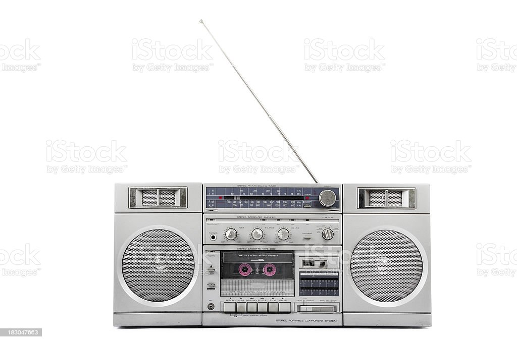 1980s Silver radio boom box  with antenna up stock photo