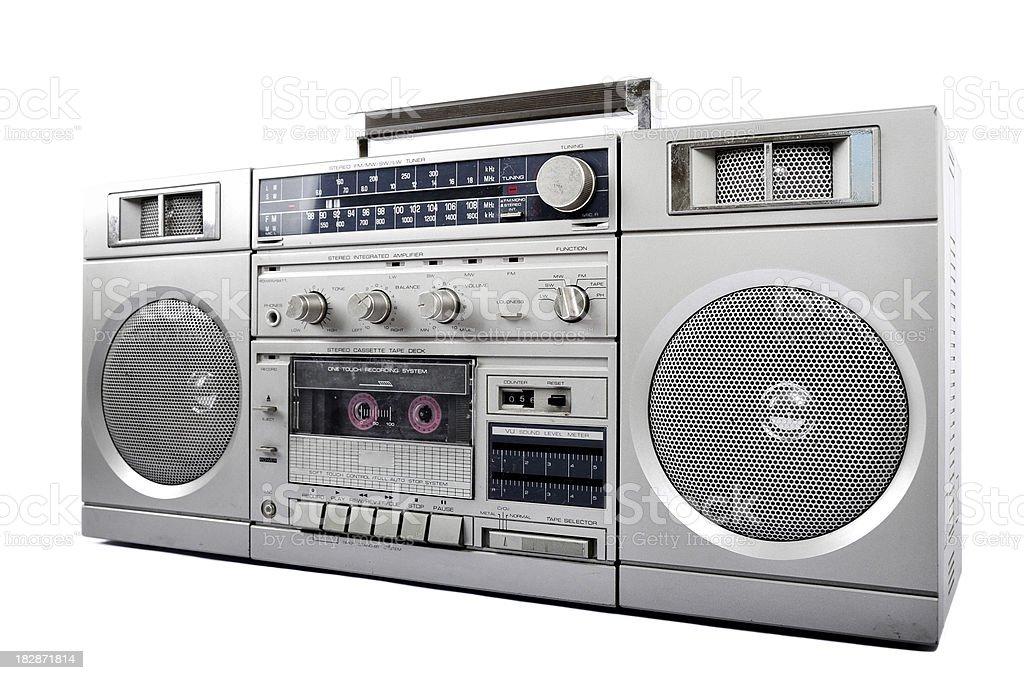 1980s Silver retro, boom box and headphone isolated stock photo