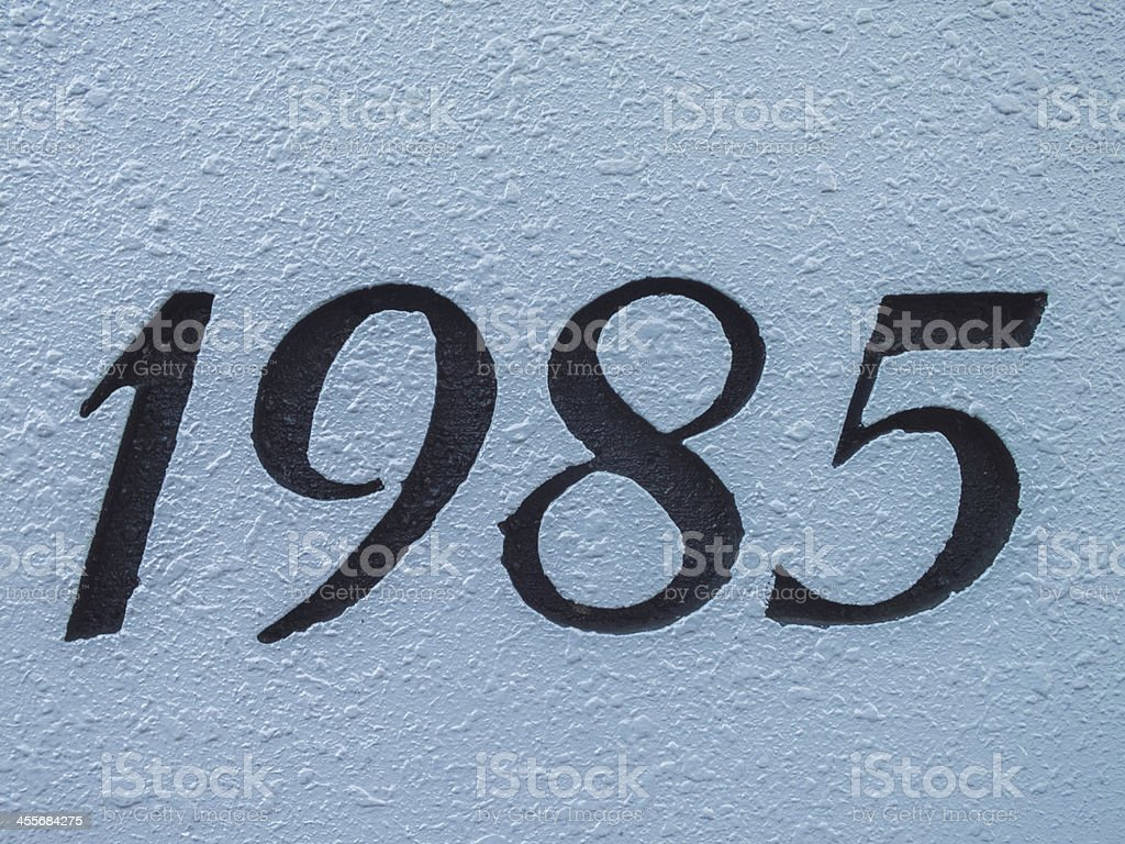 1985s imageCreated number on white wall stock photo