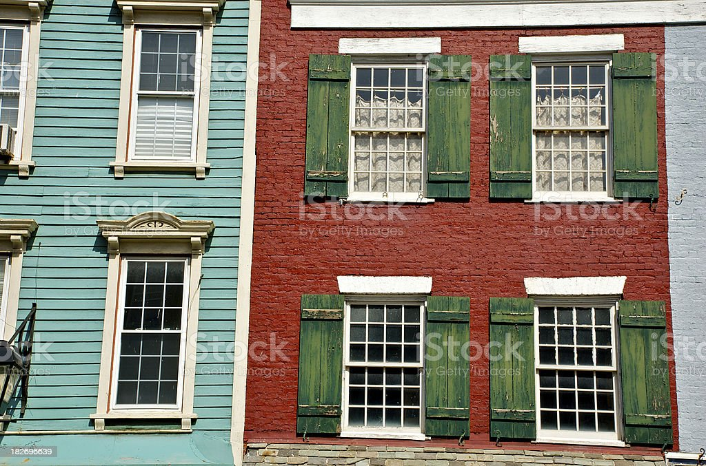 19th. century architecture,building facades, Hudson, New York State stock photo