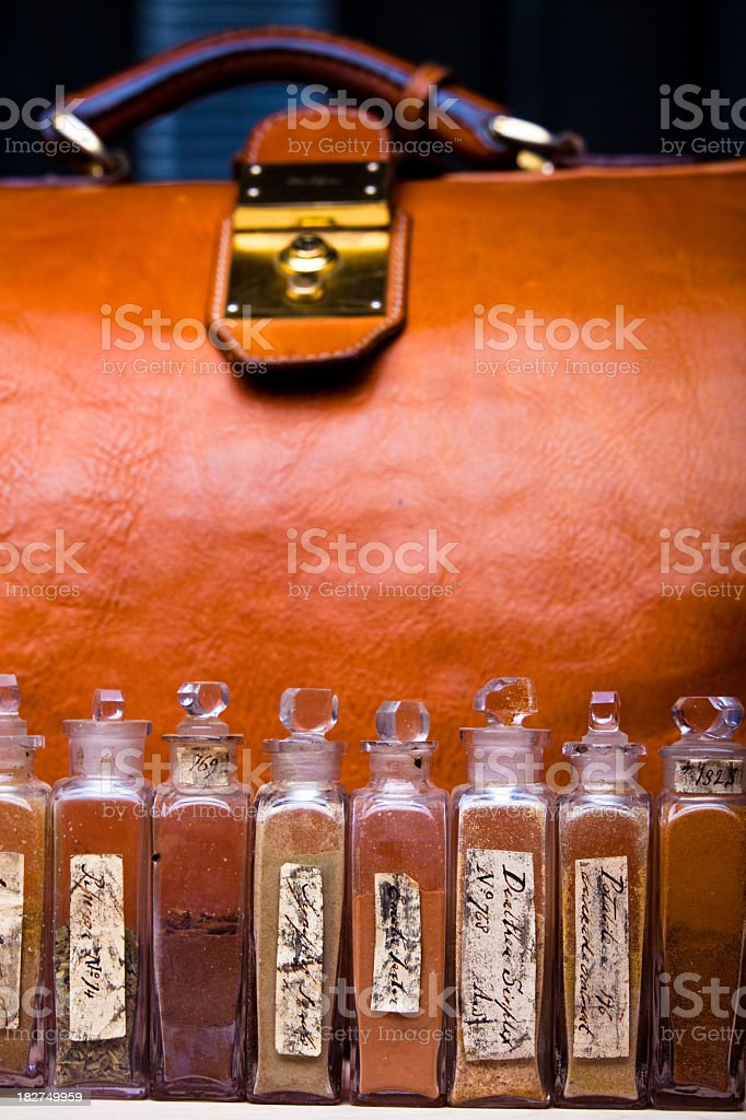19th Century Doctor's Bag with Medicines royalty-free stock photo