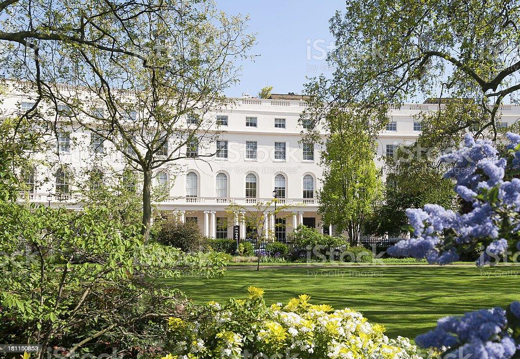 19th century London terrace and gardens stock photo