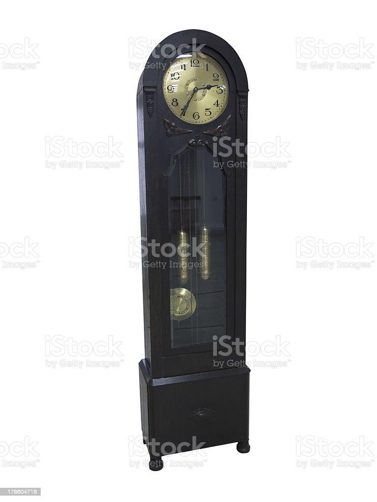 Do século 19 pêndulo Relógio de madeira antigo, isolado a branco foto de stock royalty-free