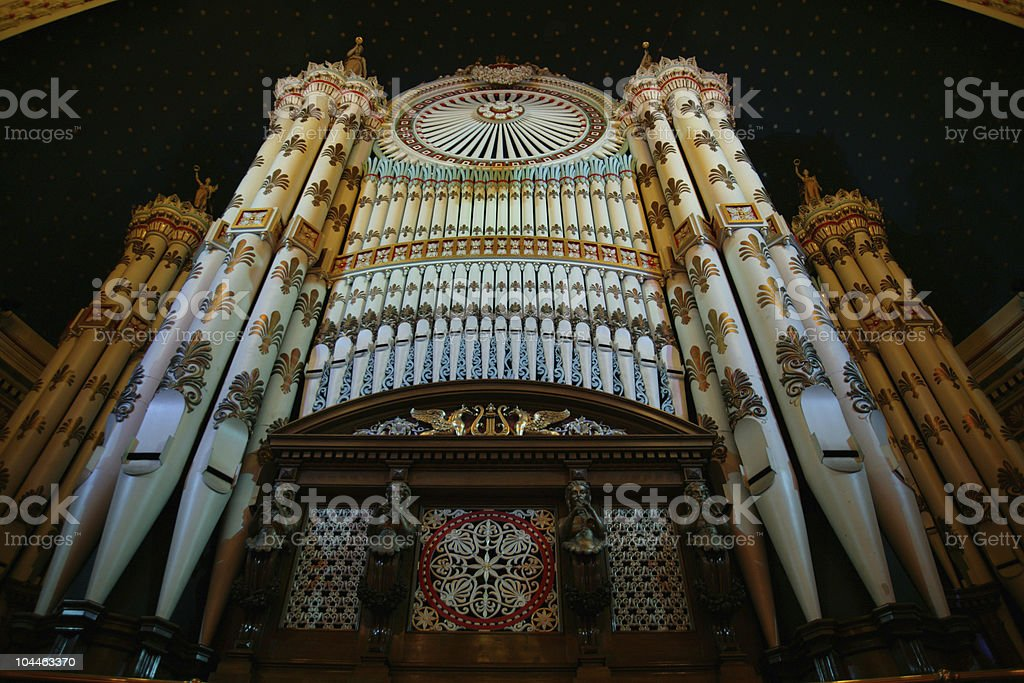 19th century organ. leeds town hall royalty-free stock photo