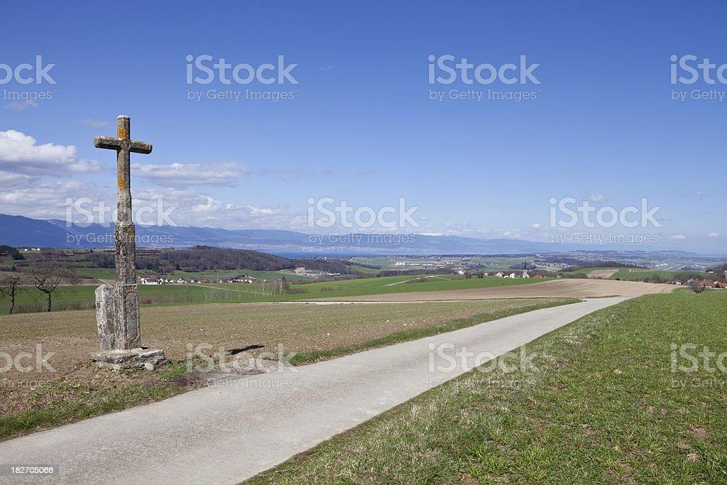 19th Century Roadside Cross, Canton Fribourg, Switzerland, Spring royalty-free stock photo