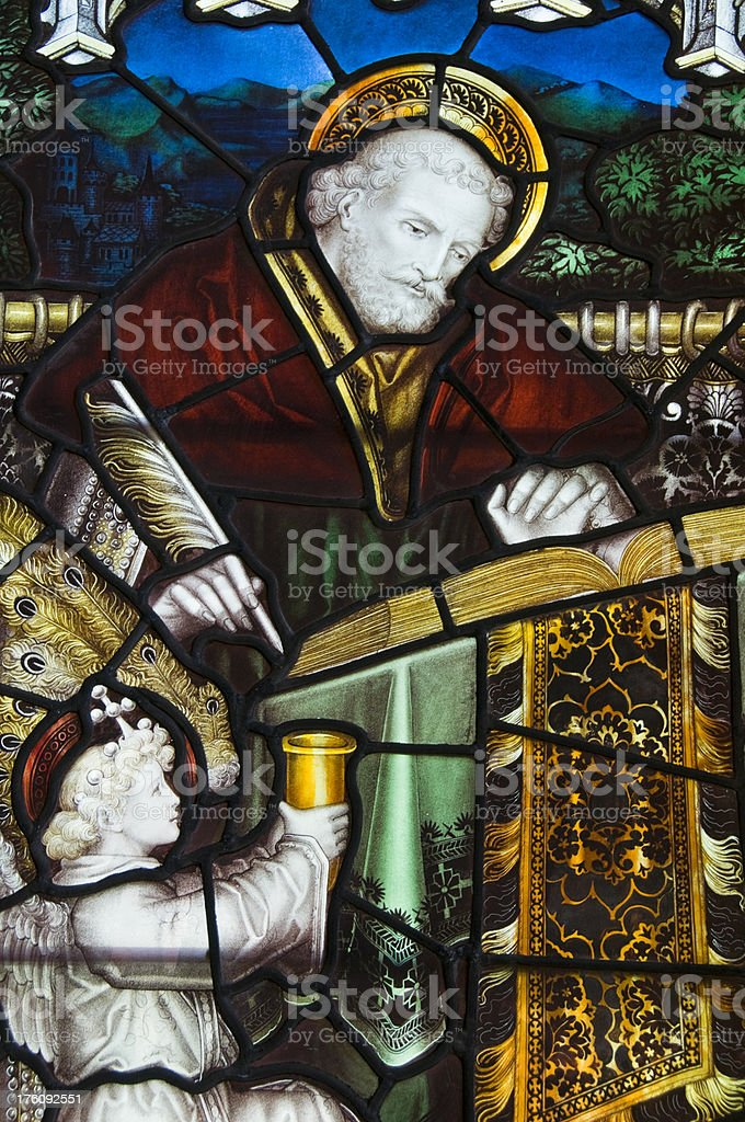 19th century Stained Glass window stock photo