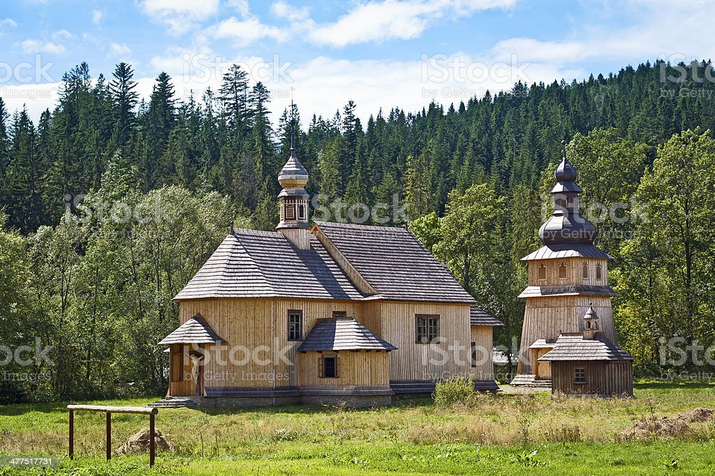 19th century style old wooden church royalty-free stock photo